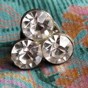 Vintage sparkly little pin clear gems pot metal